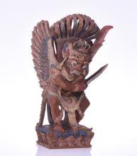 Large Garuda Temple Deity Polychrome Wood Scul