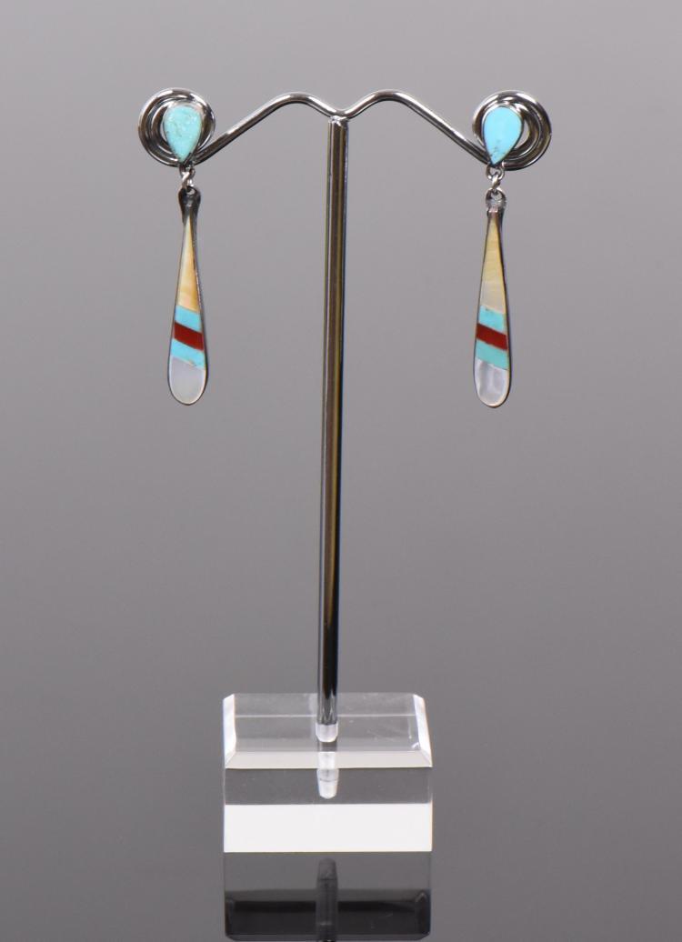 Zuni Stone Mosaic Sterling Silver Earrings, Si
