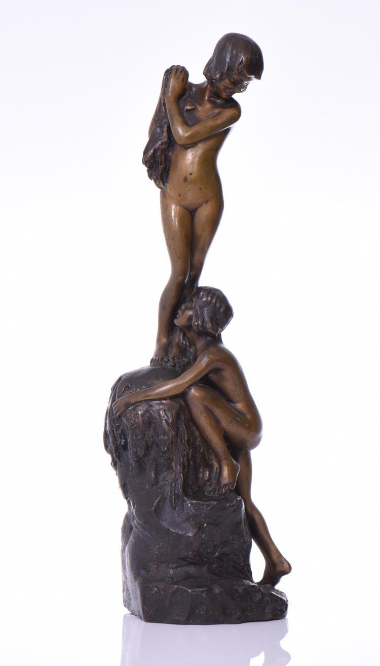 1919 Signed Bronze Sculpture, Art Nouveau To A