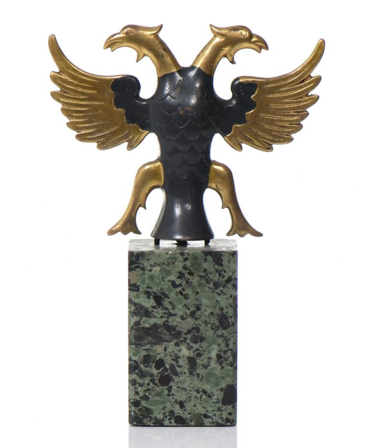 Two Toned Patina Bronze Double Headed Phoenix/