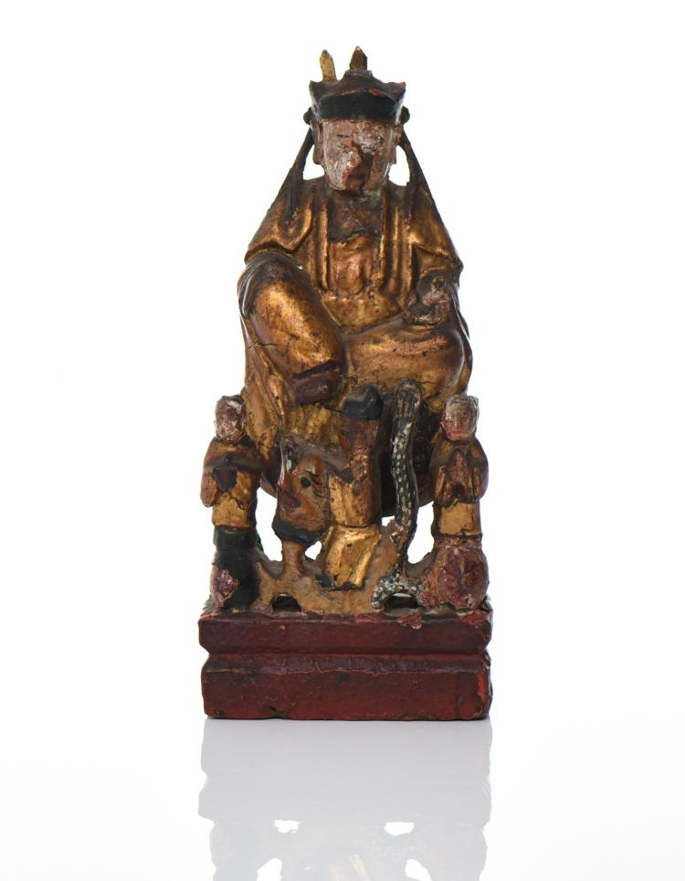 Chinese Gold Gilt And Polychrome Carved Wood E