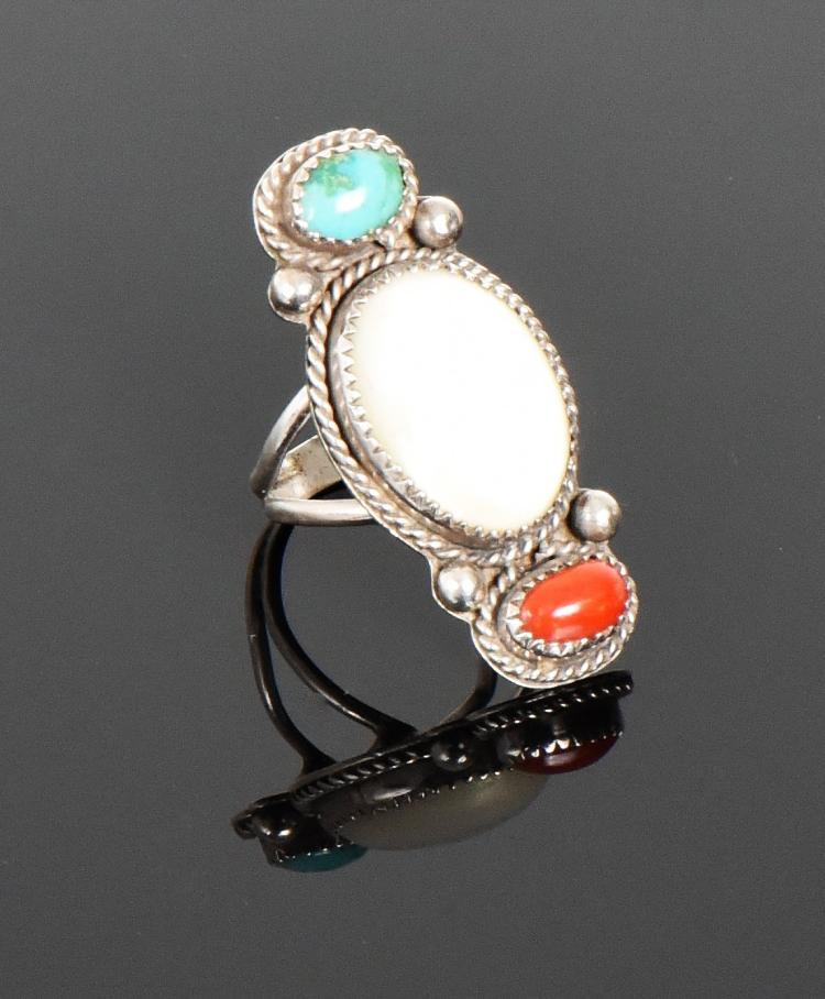 Navajo Mother Of Pearl, Turquoise And Red Cora