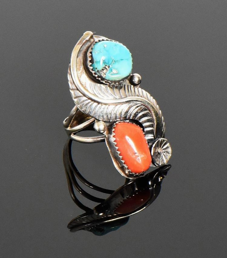 Navajo Turquoise And Red Coral Sterling Silver