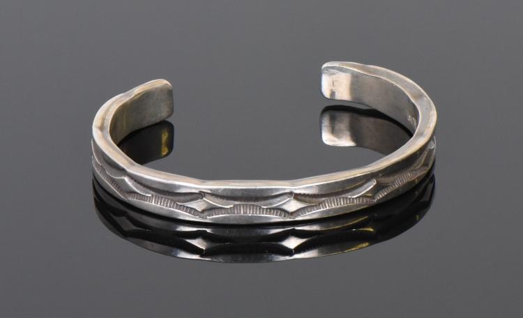 Nora Tahe Bill, Navajo Sterling Silver Cuff Br