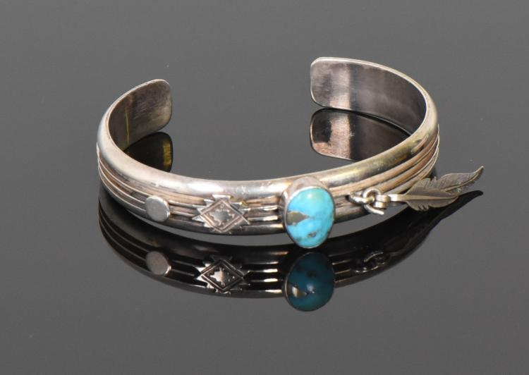 Ray King, Navajo Turquoise And 925 Sterling Si