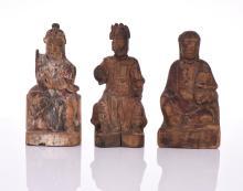 Three Antique Sino Tibetan Painted Carved Wood