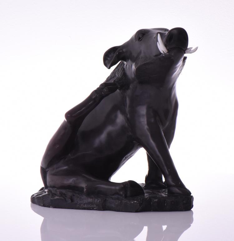 A. Makucha, Wild Black Boar Solid Stone Sculpt