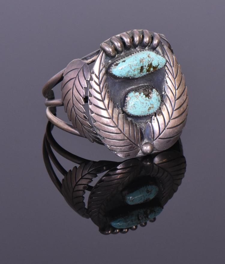 Navajo Turquoise And Sterling Silver Cuff Brac