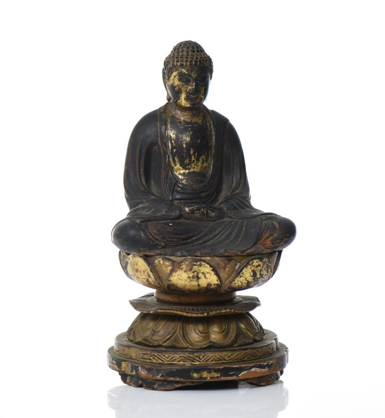 Chinese Gold Gilt Carved Wood Buddha. Provenan