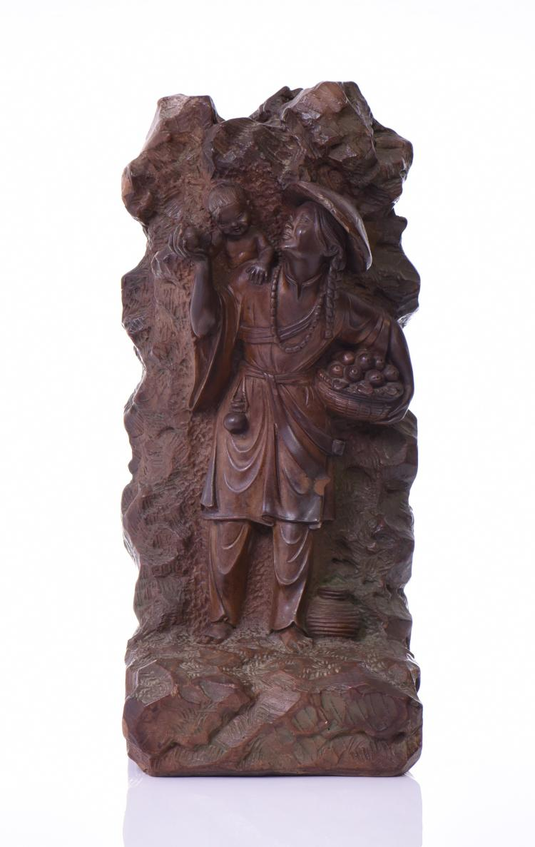 Chinese Ceramic Sculpture Of A Woman Carrying