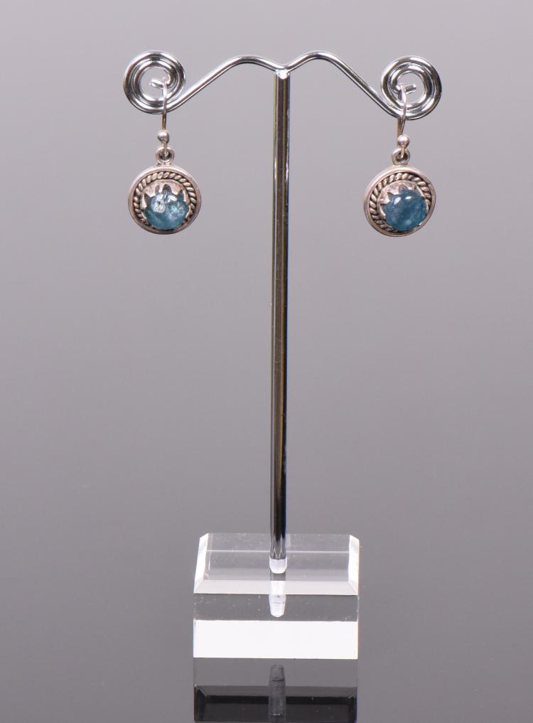 Blue Calcite Sterling Silver Rope Earrings. Si
