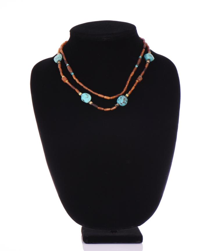 Beaded Necklace with Turquoise Stones and Ster