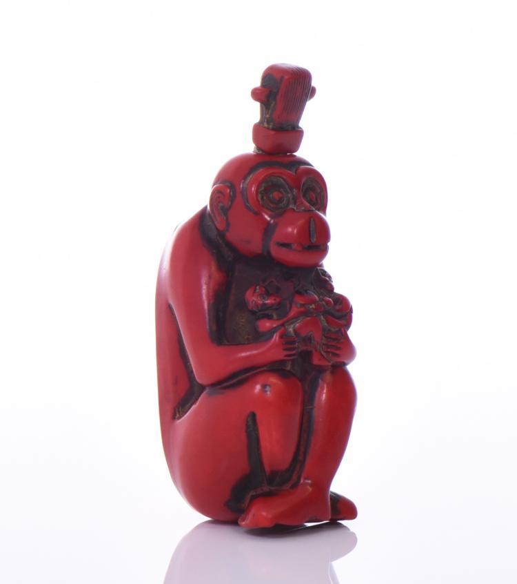 Chinese Figural Monkey Snuff Bottle.   Estimat
