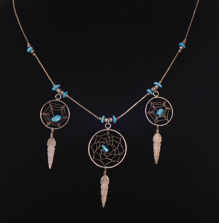 Dream catcher Sterling Silver And Turquoise Ne