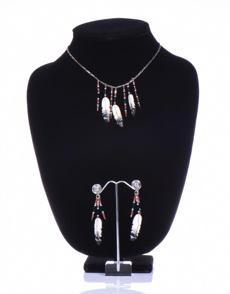 Bone Feather Necklace And Earrings Signed By A