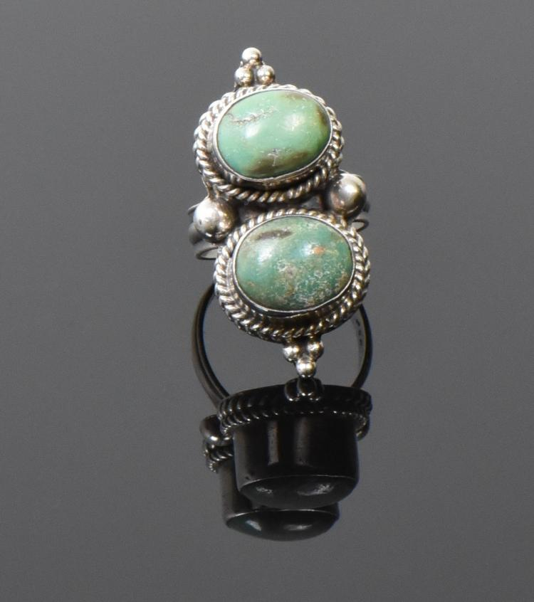Double Oval Green Turquoise Ring With Raised S