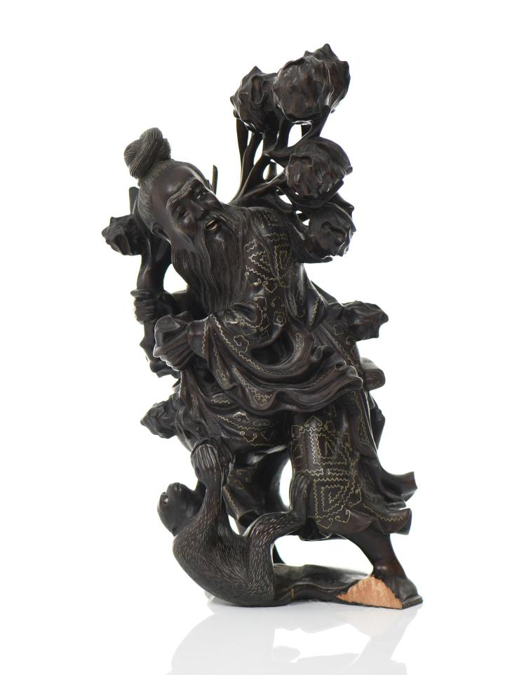 Chinese God Holding Pomegranate Branches With