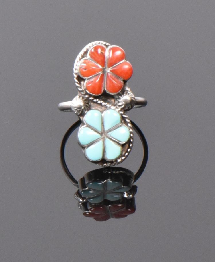 Red Coral And Blue Turquoise Sterling Silver R