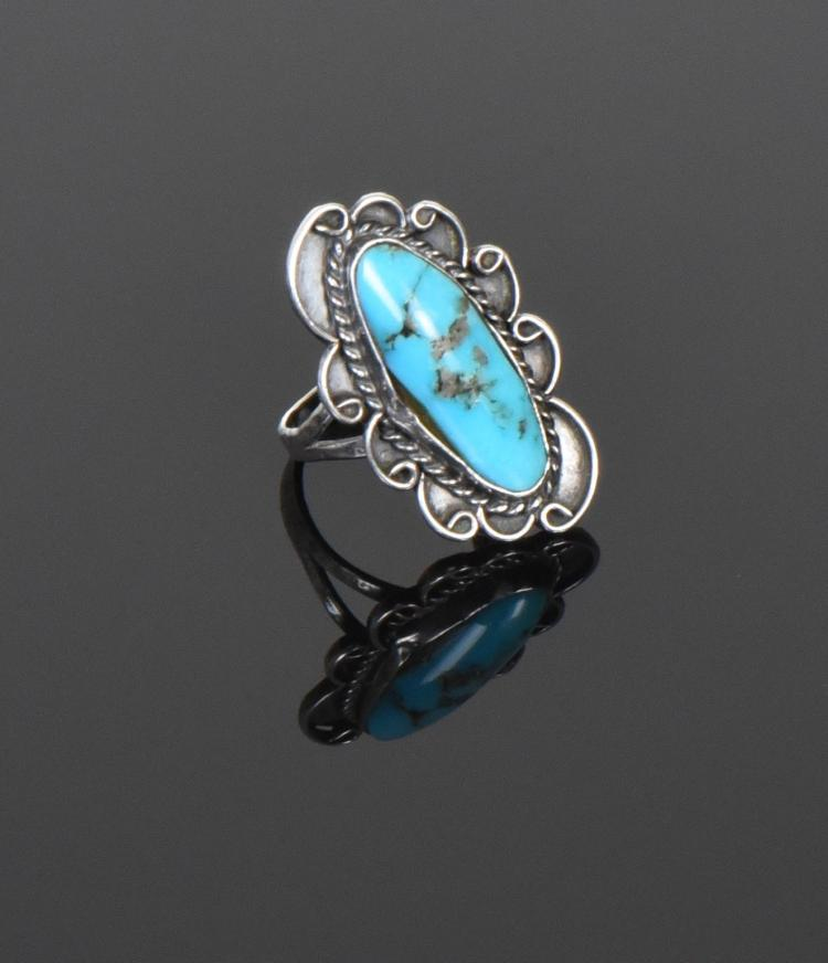 Blue Turquoise Sterling Silver Ring. Ring Size