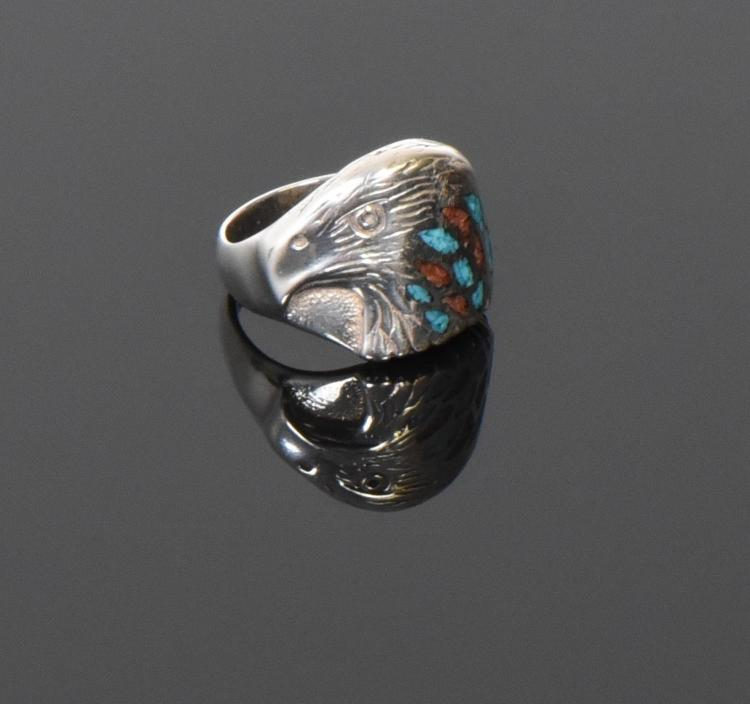 Stew, Sterling Silver Eagle Ring With Turquois