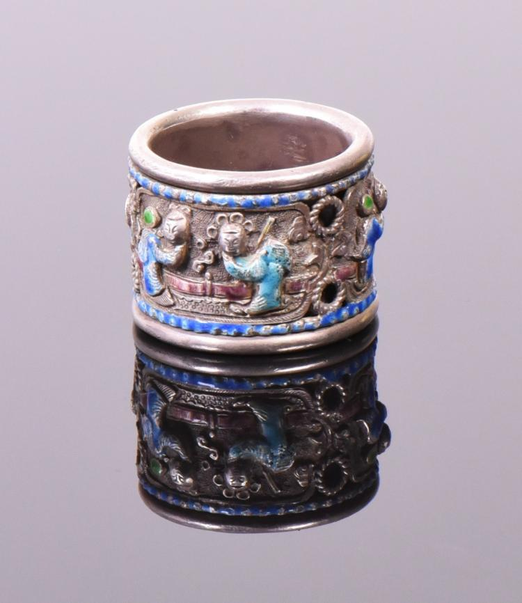 Rare 19th Century Chinese Enameled Silver Thum