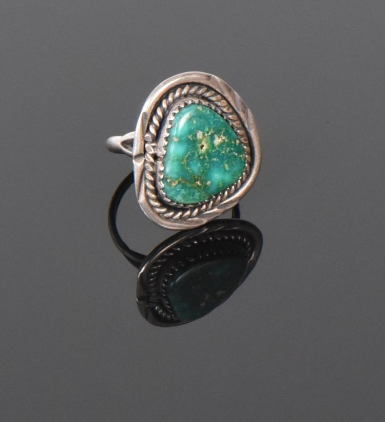 Old Pawn Green Turquoise Sterling Silver Ring.