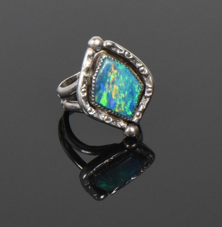 Old Pawn, Spectacular Blue Fire Opal Sterling
