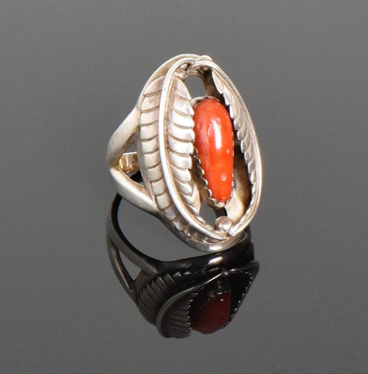 Q.C., Native American Red Coral Sterling Silve