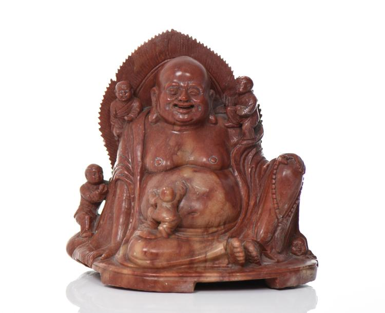 Chinese Soapstone Or Steatite Buddha Carving O