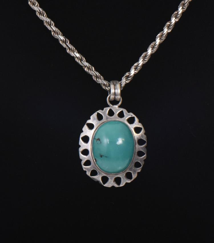 Green Turquoise Sterling Silver Pendant And Ne