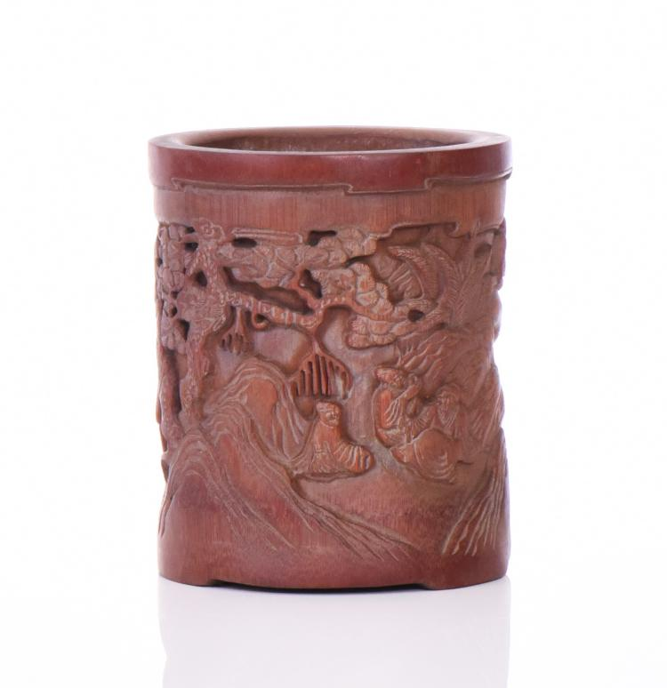 Chinese Elaborately Carved Bamboo Brush Pot, D