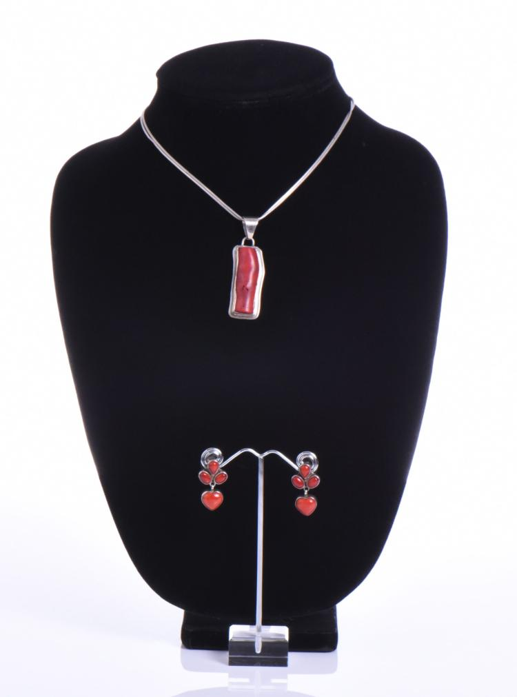 Chris Billie, Navajo Red Coral Necklace and Ea