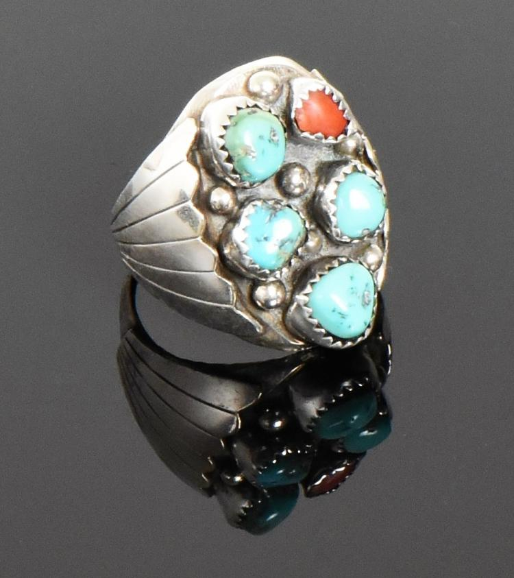 BAH, Native American Blue Turquoise And Red Co