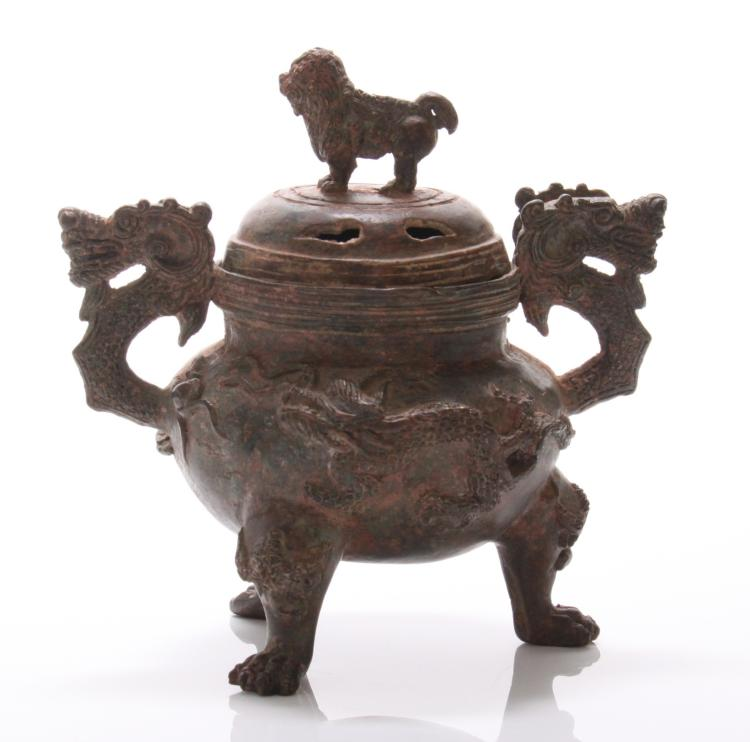Antique Asian bronze censor with foo dog and d