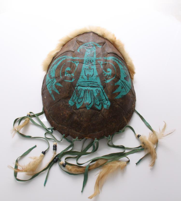 Native American painted turtle shell adorned w