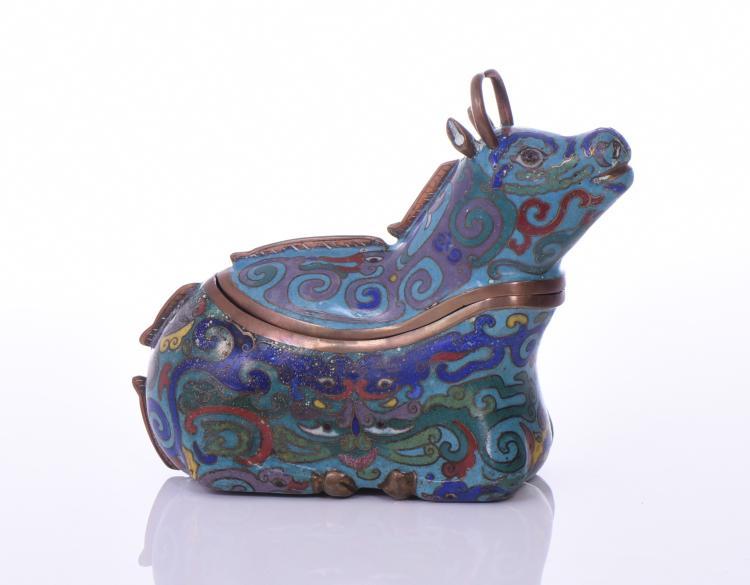 Chinese Animal-Shape Cloisonne Enamel Box, Fas