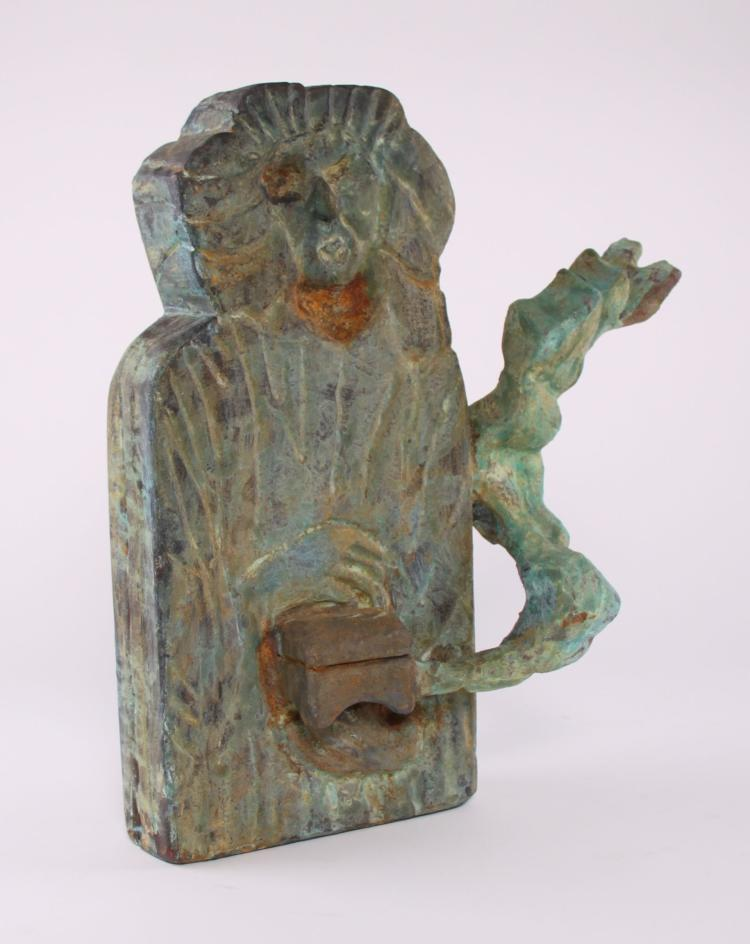Wood carved sculpture with green patina. Unkno