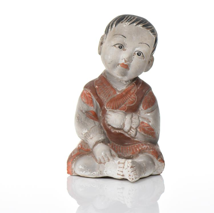 Japanese Polychrome Ceramic Child.   Estimated