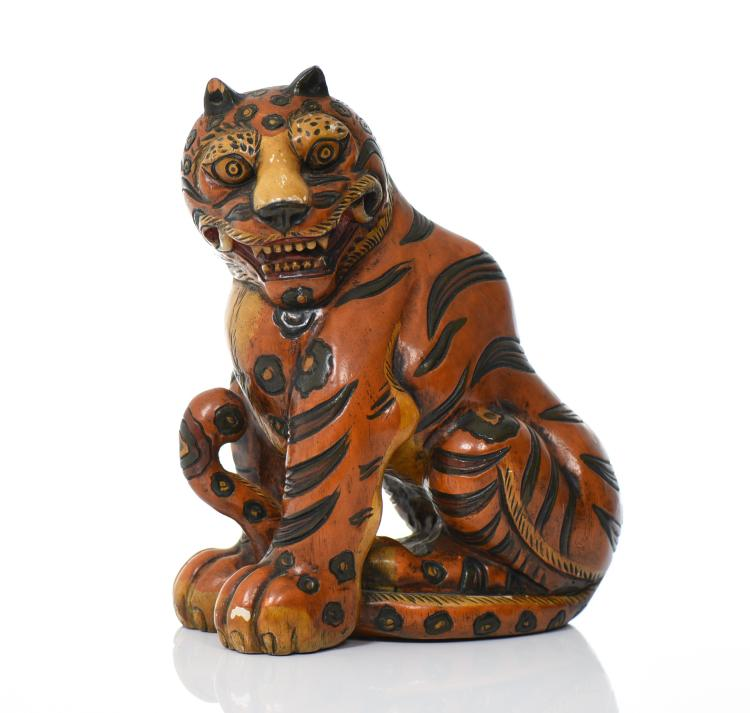 Japanese Hand Painted Wood Carved Tiger. Est