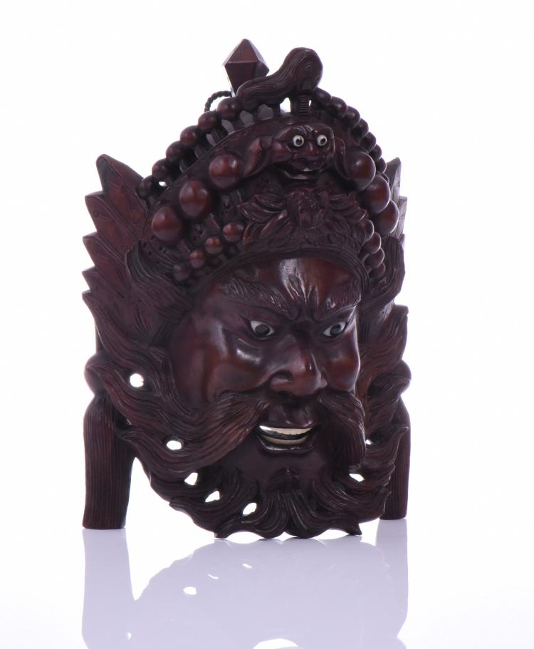 Chinese Emperor rosewood carved mask with bone