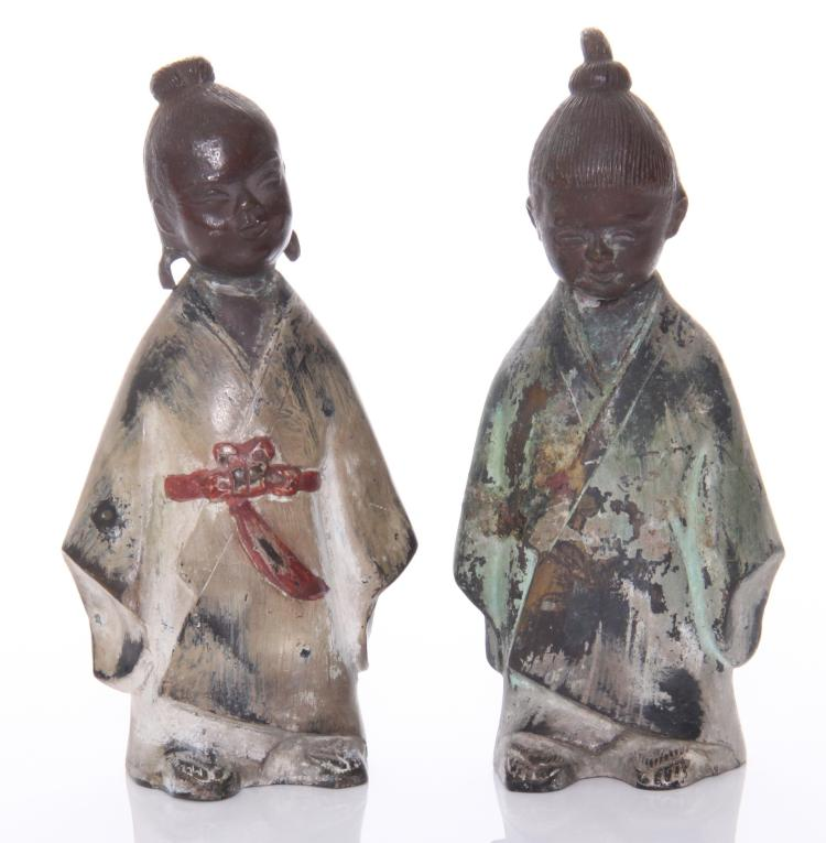 Two Antique Japanese partially polychromed bro