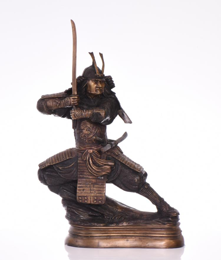 Japanese Samurai Bronze Warrior with Removable