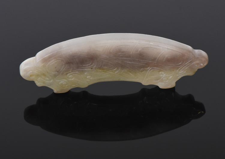 Chinese Jade Amulet Pendant With Rare Lavender