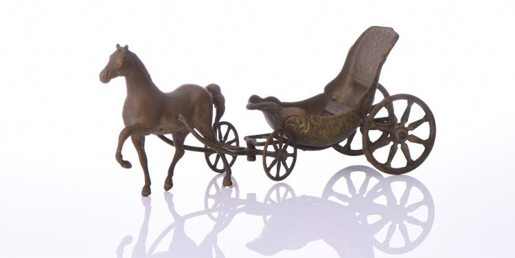 Artmark Italian Brass Horse And Carriage.  Est