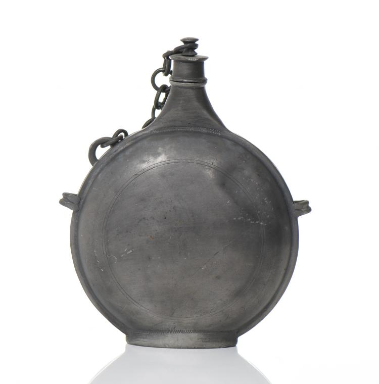 Italian Antique Pewter Water Canteen Flask Wit