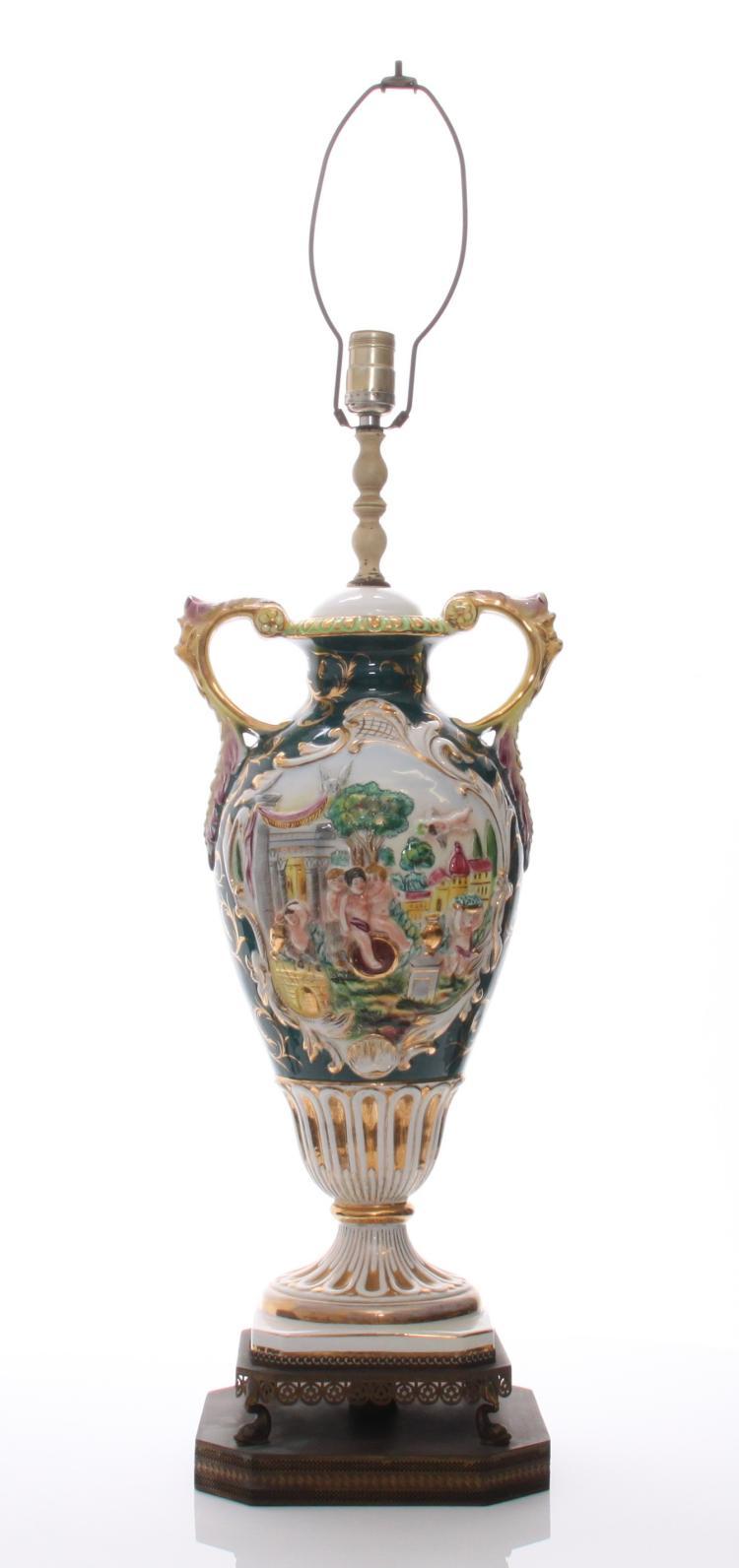 Capodimonte Porcelain Lamp. Condition Report:
