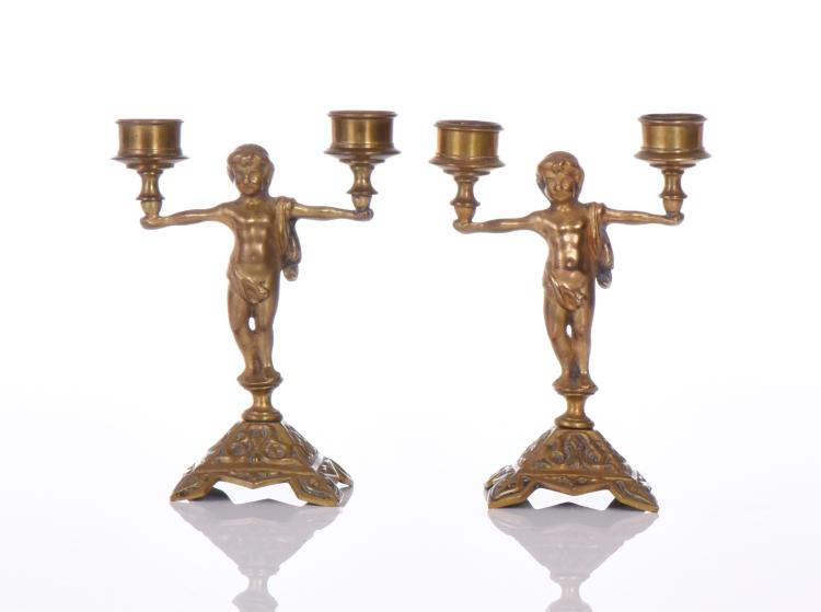 Two Antique Bronze Candlestick Candle Holders