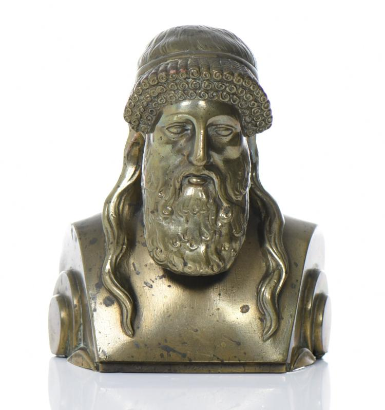 Roman Archaistic Bronze/Brass Herm Of Hermes P