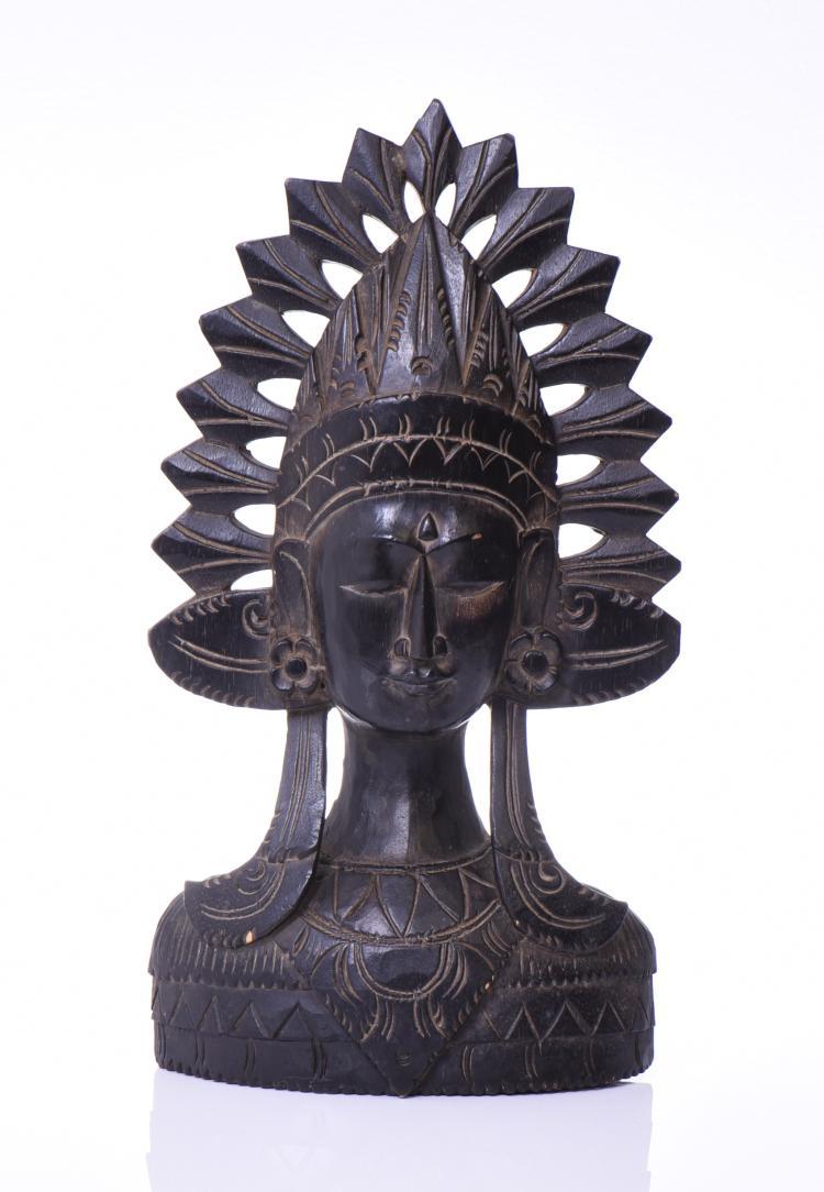Balinese Hard Wood Carving Of A Janger Dancer.