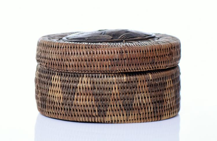 Indonesian Pine Needle Basket With Wood Carved